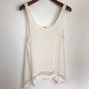 Free People White Flowey Tank sz S